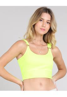 Top Cropped Feminino Canelado Com Argola Alça Larga Decote Redondo Amarelo Neon