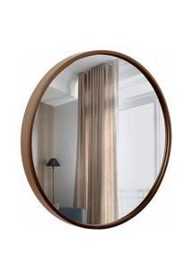 Espelho Decorativo Round Externo Marrom 30 Cm Redondo