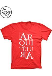 Camiseta Lu Geek Plus Size Arquitetura Vermelho