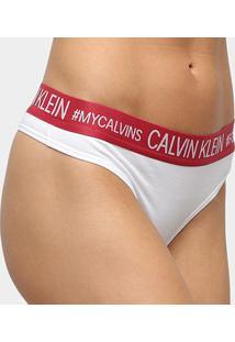Calcinha Calvin Klein Fio Dental Reveillon Cotton - Feminino-Vermelho