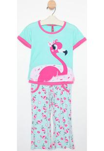 Pijama Flamingos- Verde Água & Rosapuket
