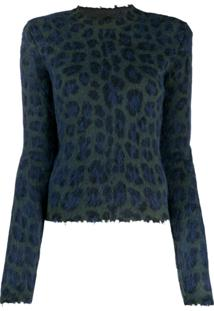 Unravel Project Suéter Animal Print - Azul