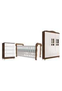Dormitório Lara Guarda Roupa 3 Portas/Cômoda 4 Gavetas/Berço Lara Branco/Amadeirado Carolina Baby