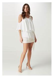 Vestido Seda Curto Top Renda Off White