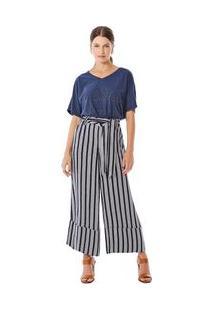 Calça Maria.Valentina Pantalona Cropped Cós Alto Com Faixa Azul