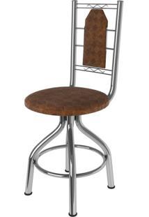 Cadeira Aço E Courino Ca-950 Móveis Brastubo Cromado/Tabaco Quadriculado