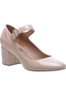 Sapato Tradicional Envernizado Com Fivela- Nude- Salarezzo & Co.
