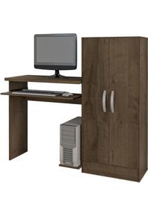 Mesa De Computador C/Biblioteca Irlanda Mocaccino Rústico Atualle