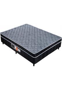 Cama Box Casal Conjugado Mola Prolástic 138Cmx188Mx51Cm Quality-Flex Cinza/Preto