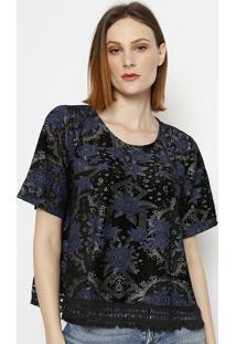 Blusa Floral Com Franjas - Preta & Azul - Lanã§A Perflanã§A Perfume