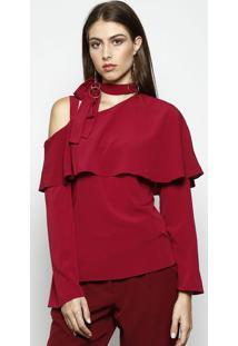 Blusa Com Amarração- Bordô- Nemnem