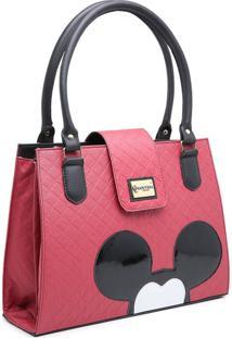 Bolsa Mickey Compacta Alã§A Dupla Mã£O Vermelho - Vermelho - Feminino - Dafiti