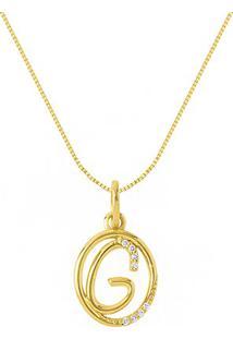 Pingente Letra G Ouro Amarelo E Diamantes 15 Mm