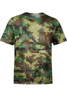 Camiseta Estampada Over Fame Camuflado Pixels Verde
