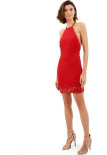 Vestido John John Queen Curto Malha Vermelho Feminino (Vermelho Medio, G)