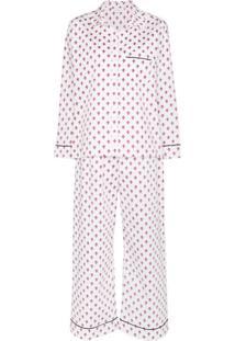 Pour Les Femmes Pijama Com Estampa Fleur De Lys - Branco
