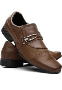 Sapato Social Masculino Couro Legítimo Fivela Vicerinne - Masculino-Marrom Claro