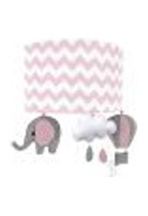 Arandela Meia Lua Elefante Balão Rosa Quarto Bebê Infantil Menina