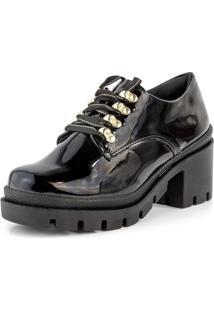 Sapato Oxford Tratorado Lurex Verniz Preto - Kanui