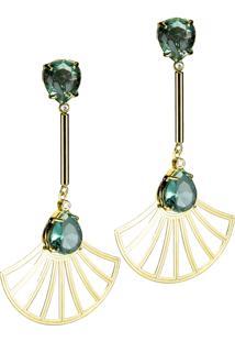 Brinco Haste Longa E Leque Arabesco Cristal Oval Semijoia Banho De Ouro 18K Cristal Verde Esmeralda - Kanui