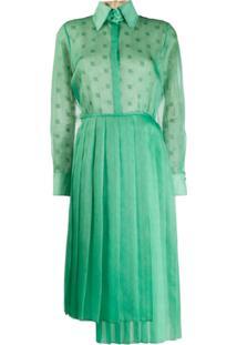 Fendi Vestido Envelope Plissado - Verde