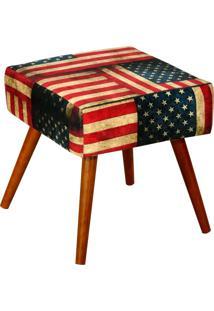 Puff Decorativo Lymdecor Lívia Suede Bandeira Estampado Vermelho