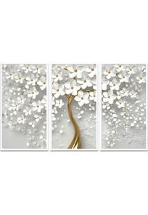 Quadro 65X105Cm Canvas Flores Cerejeiras Pétalas Branca Moldura E Vidro