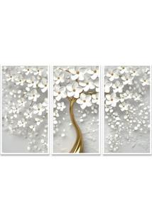 Quadro 65X105Cm Flores Cerejeiras Pétalas Branca Moldura E Vidro