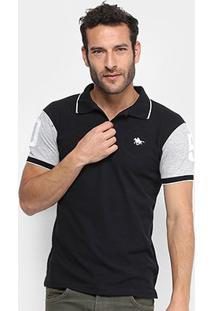 Camisa Polo Rg 518 Piquet Bordado Masculina - Masculino-Preto