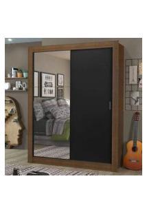 Guarda-Roupa Solteiro Madesa Dallas Plus 2 Portas De Correr Com Espelho 4 Gavetas Rustic/Preto Cor:Rustic/Preto