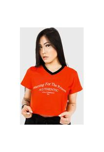 Camiseta Cropped Prison Warring For The Prison Laranja