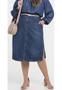 Saia Feminina Jeans Midi Fenda Plus Size
