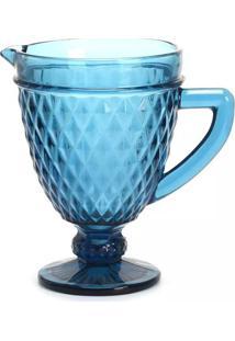 Jarra De Vidro Le Greek 1,2L Com Textura E Alça Azul