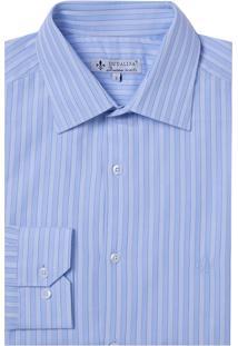 Camisa Dudalina Manga Longa Fio Tinto Maquinetada Listrado Masculina (Azul Claro, 43)
