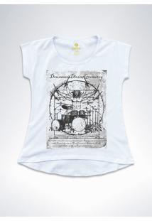 Camiseta T-Shirt Feminina Rock Cool Tees Bateria Da Vinci Branca - Kanui