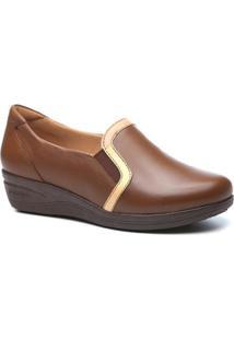 Sapato Conforto Couro Anabela Doctor Shoes 190 Feminino - Feminino-Marrom