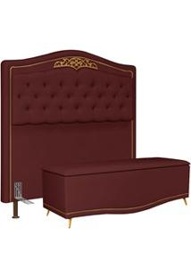 Cabeceira Cama Box Casal King 195Cm Com Calçadeira Baú Imperial J02 Su