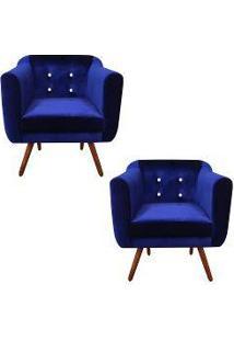 Kit 02 Poltronas Julia Cadeira Decorativa Suede Acetinado Azul Marinho Strass - Drossi