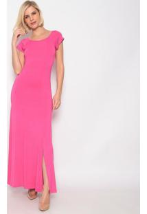 Vestido Longo Com Fenda- Rosa- Vittrivittri