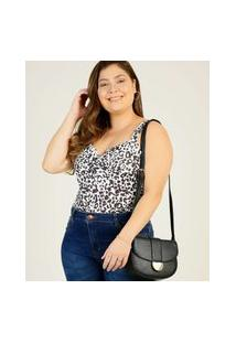 Body Plus Size Feminino Estampa Animal Print Sem Manga