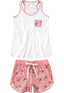 Pijama Curto Estampado Feminino - Branco - G