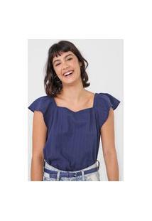 Blusa Gap Texturizada Azul-Marinho
