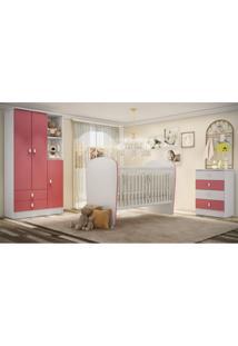 Quarto De Bebê Completo Pimpolho Com Guarda Roupa 3 Portas Cômoda E Berço Siena Móveis Branco/Rosa
