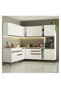 Cozinha Completa De Canto Madesa Reims 437001 Com Armário E Balcáo - Branco Branco