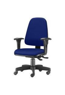 Cadeira Sky Presidente Com Bracos Assento Courino Azul Base Metalica Preta - 54810 Preto