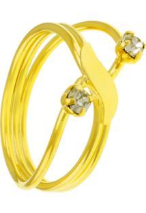Anel Horus Import Onda Três Fios Banhados Em Ouro Amarelo 18 K - 1010085