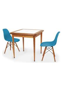 Conjunto Mesa De Jantar Em Madeira Imbuia Com Azulejo + 2 Cadeiras Eames Eiffel - Turquesa