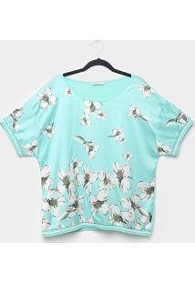 Blusa Heli Plus Size Punho Retínea Floral Feminina - Feminino-Verde