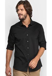 Camisa Calvin Klein Slim Fit Lisa Stretch Masculina - Masculino-Preto
