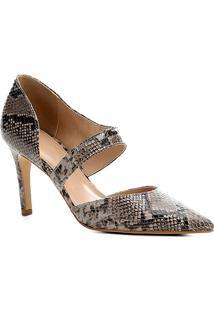 Scarpin Couro Shoestock Lopsided Snake - Feminino-Cinza+Preto